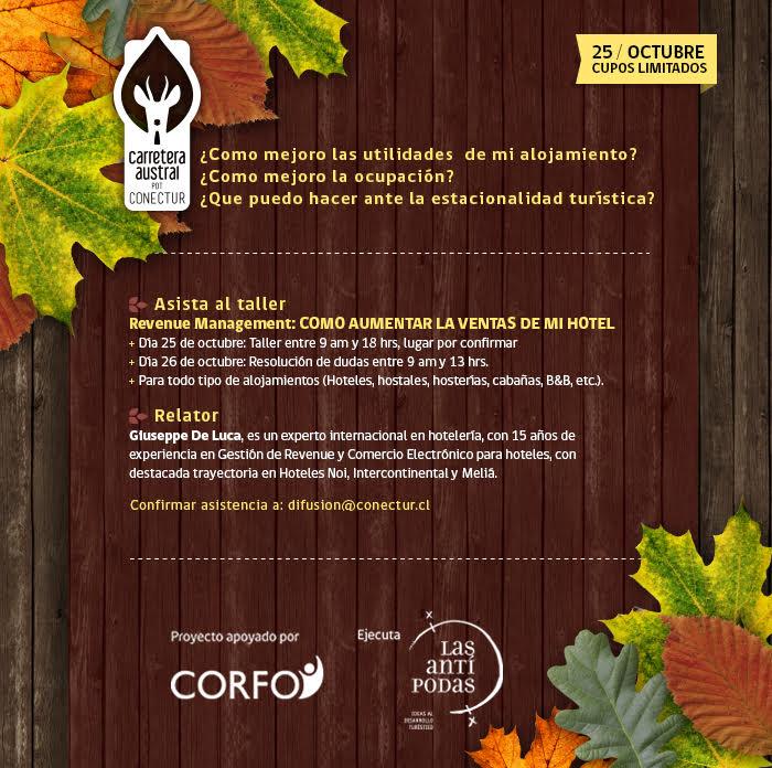 Taller Revenue Management en Coyhaique el 25 de octubre.
